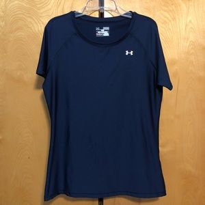 Under Armour Fitted Heat Gear Navy T-Shirt